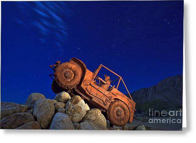 Jeep Adventures Under The Night Sky In Borrego Springs Greeting Card by Sam Antonio Photography