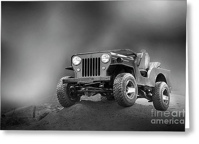 Greeting Card featuring the photograph Jeep Bw by Charuhas Images