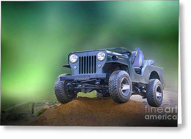 Greeting Card featuring the photograph Jeep by Charuhas Images