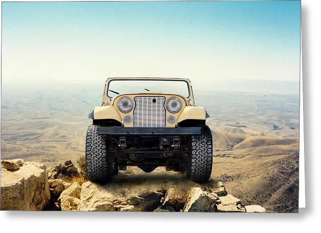 Jeep On Mountain Greeting Card