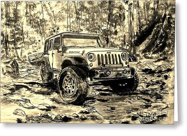 Jeep Rubicon - Watercolor Sepia Greeting Card