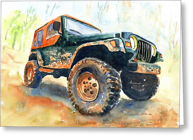 Jeep Wrangler Watercolor Greeting Card