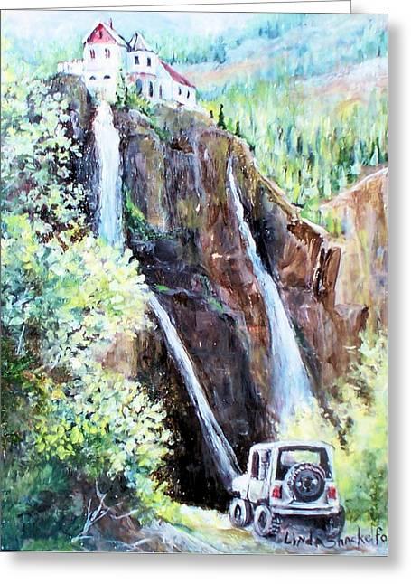 Greeting Card featuring the painting Jeeping At Bridal Falls  by Linda Shackelford