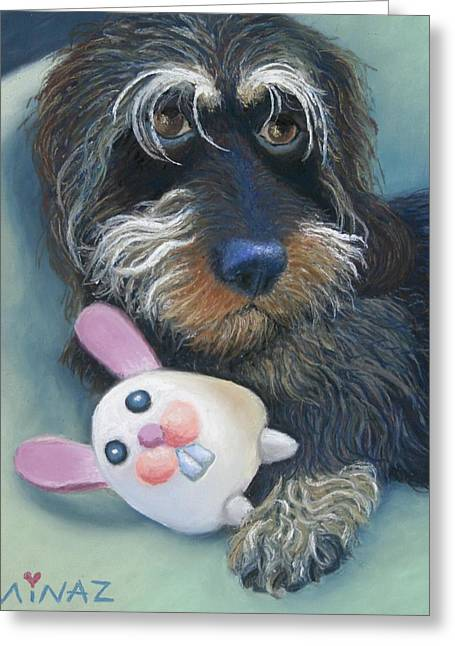 Toys Pastels Greeting Cards - Jeez Donot Touch Ma Squeez Greeting Card by Minaz Jantz