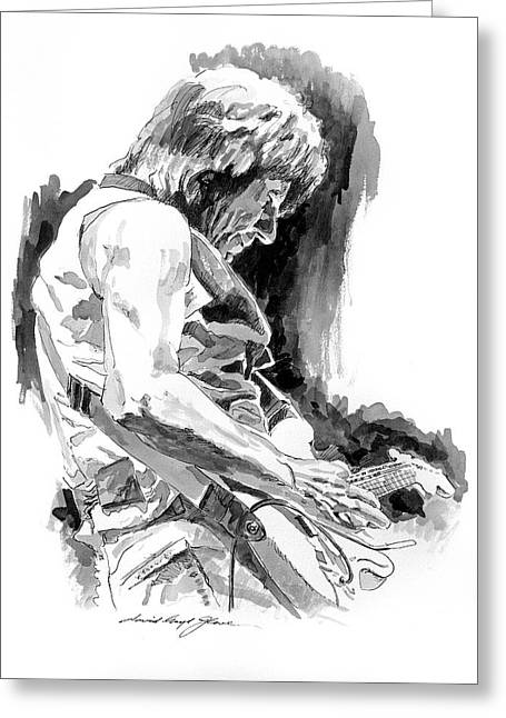 Featured Drawings Greeting Cards - Jeff Beck in Concert Greeting Card by David Lloyd Glover