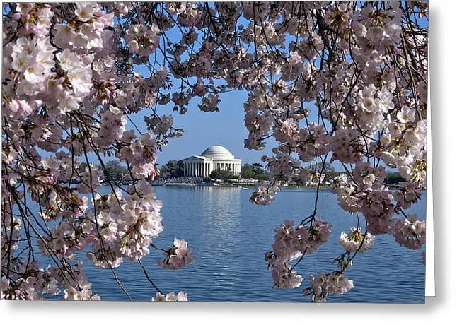 D Greeting Cards - Jefferson Memorial on the Tidal Basin DS051 Greeting Card by Gerry Gantt