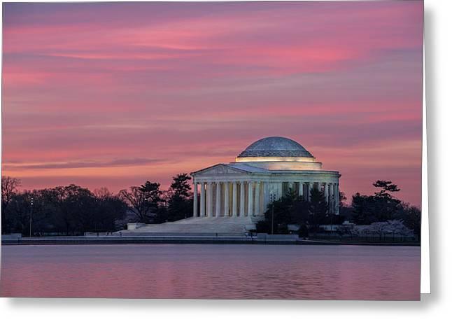 Jefferson Memorial Sunrise Greeting Card by Michael Donahue
