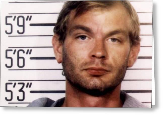 Jeffrey Dahmer Mug Shot 1991 Square  Greeting Card by Tony Rubino