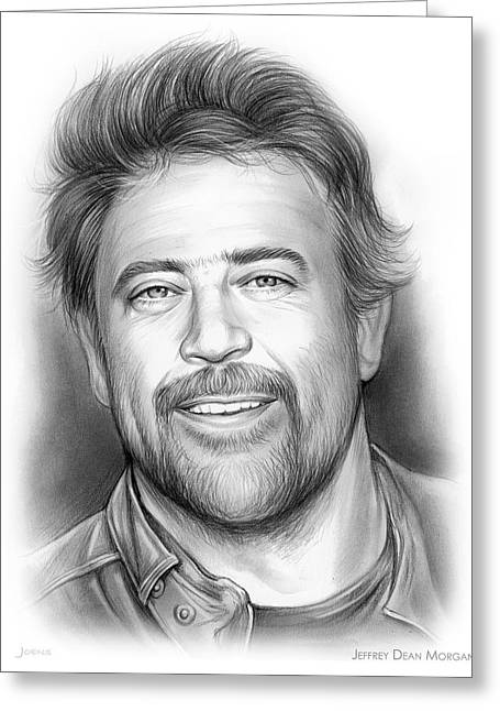 Jeffrey Dean Morgan Greeting Card by Greg Joens
