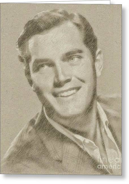 Jeffrey Hunter Vintage Hollywood Actor Greeting Card by Frank Falcon