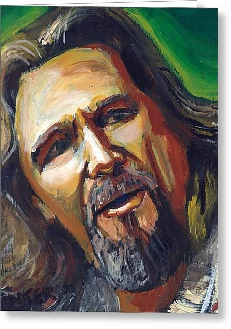 Jeffrey Lebowski The Dude Greeting Card by Buffalo Bonker