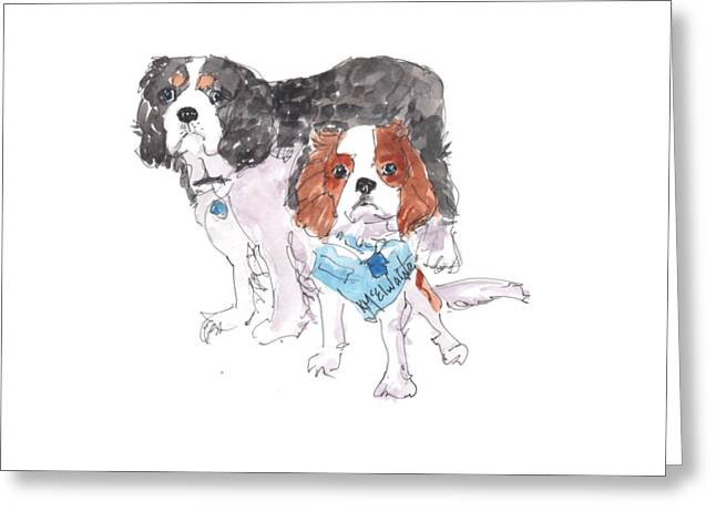 Jeffs Dogs Watercolor Kmcelwaine  Greeting Card