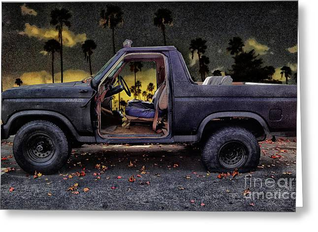 Jeff's Jeep And The Fallen Leaves Greeting Card by Bob Winberry