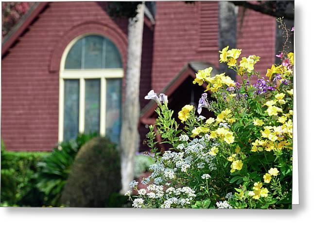 Greeting Card featuring the photograph Jekyll Island Chapel And Flowers by Bruce Gourley