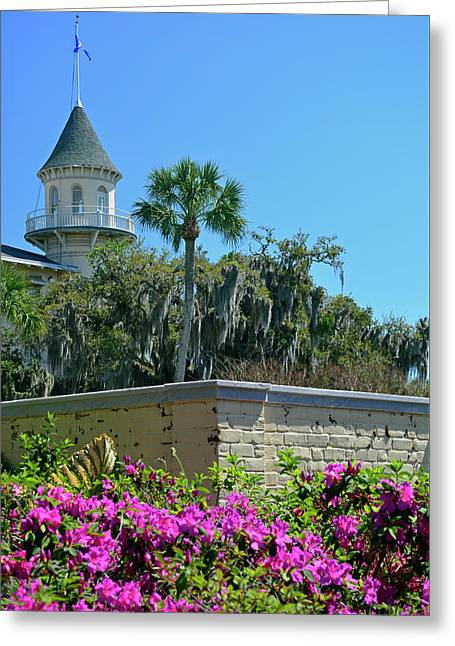 Greeting Card featuring the photograph Jekyll Island Club Hotel And Azaleas by Bruce Gourley