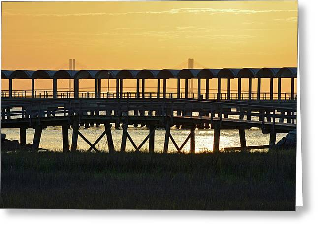 Jekyll Island Pier At Sunset Greeting Card by Bruce Gourley