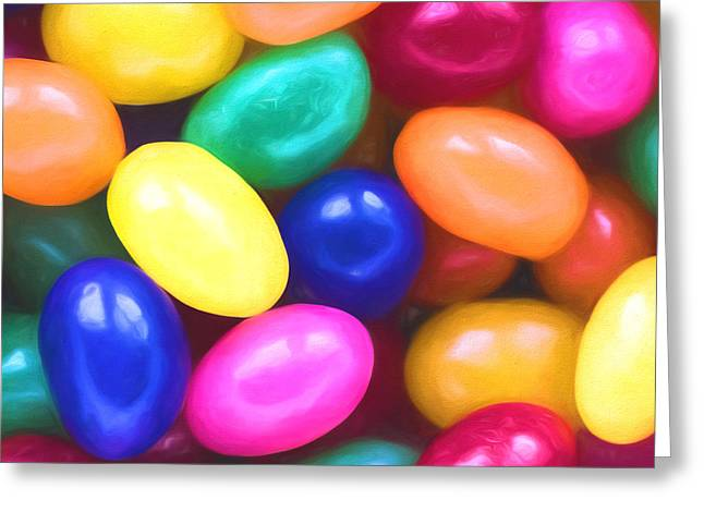 Jelly Beans Square Greeting Card by Terry DeLuco