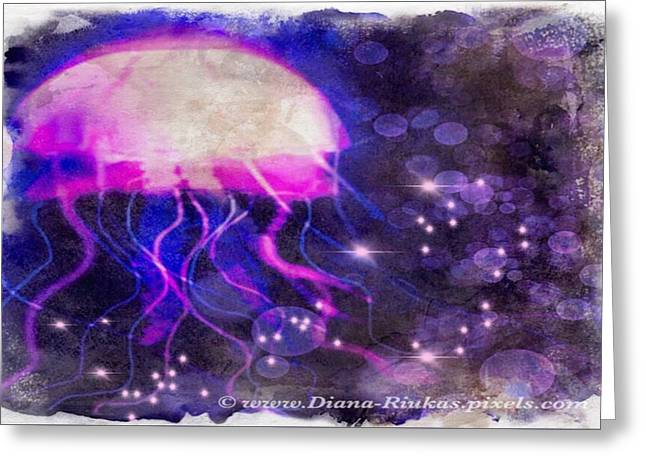 Jellyfish And Sparkles Greeting Card by Diana Riukas