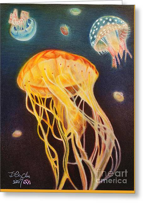 Jellyfish Greeting Card by Jianling Chu
