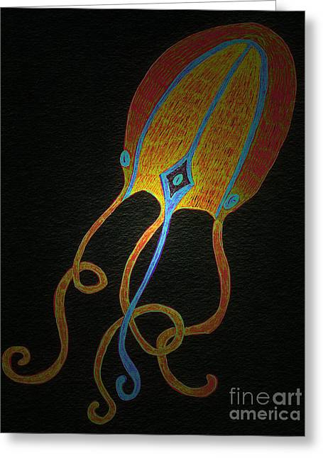 Jellyfish Light Greeting Card by Norma Appleton