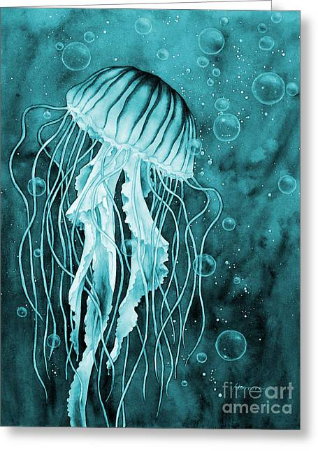 Jellyfish On Blue Greeting Card