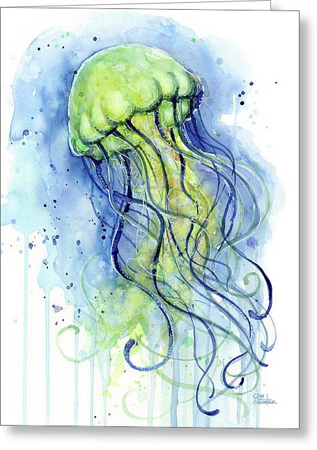 Jellyfish Watercolor Greeting Card by Olga Shvartsur