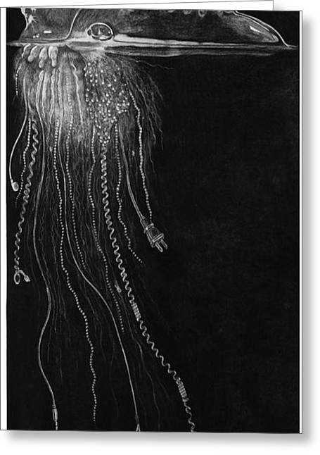 Jellyfish With Cords Greeting Card by Elizabeth Comay