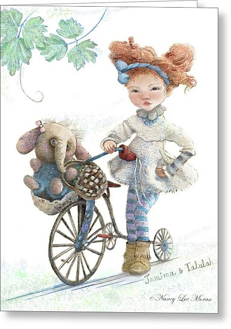 Jemima Starling And Her Elephant Friend Greeting Card by Nancy Lee Moran