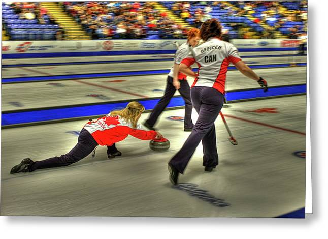 Curling Greeting Cards - Jennifer Jones Throws Greeting Card by Lawrence Christopher
