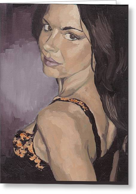 Greeting Card featuring the painting Jenny In Black by Stephen Panoushek