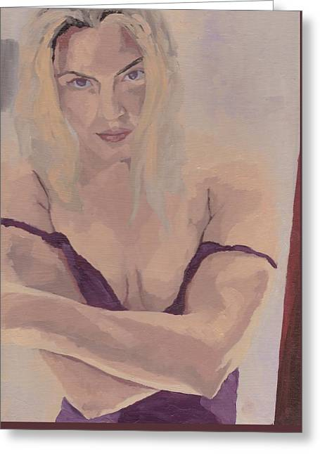 Greeting Card featuring the painting Jenny In Purple by Stephen Panoushek