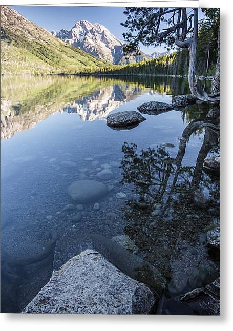 Jenny Lake In The Morning Greeting Card by Jon Glaser