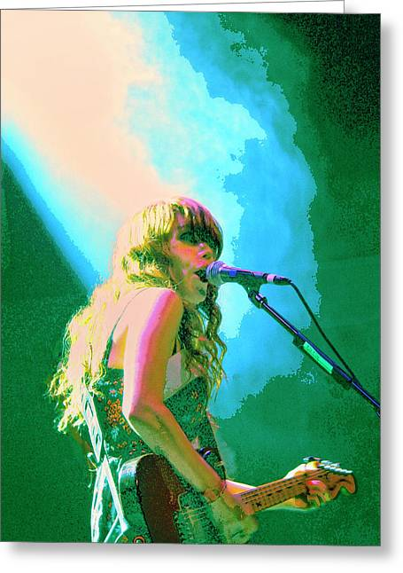 Jenny Mixed Media Greeting Cards - Jenny Lewis 1 Greeting Card by Dominic Piperata