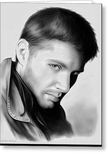 Jensen Ackles Greeting Card by Greg Joens