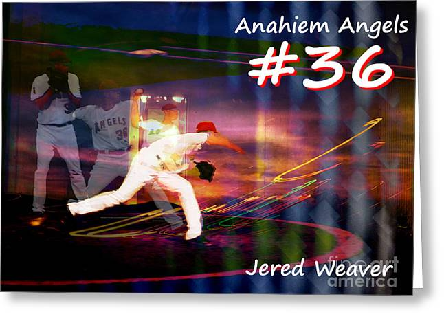 Jered Weaver Greeting Card by Robert Ball