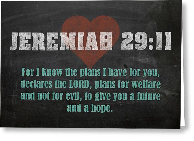 Jeremiah 29 11 Inspirational Quote Bible Verses On Chalkboard Art Greeting Card