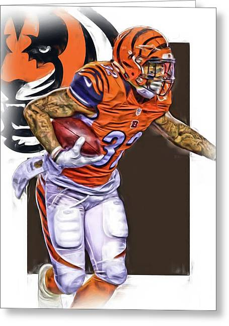 Jeremy Hill Cincinnati Bengals Oil Art Greeting Card by Joe Hamilton