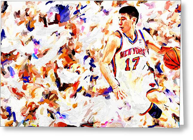 Leon Jimenez Greeting Cards - Jeremy Lin Greeting Card by Leon Jimenez