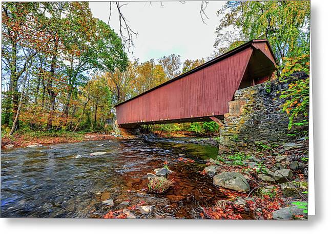 Jericho Covered Bridge In Maryland During Autumn Greeting Card