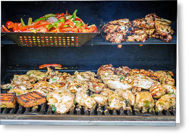 Jerk Chicken And Veggies On Grill Greeting Card by Toni Thomas