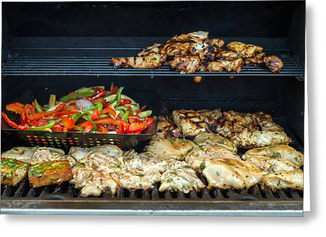 Jerk Chicken With Veggies On Grill Greeting Card by Toni Thomas