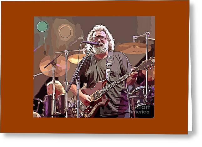 Jerry Garcia Abstract Digital Painting Greeting Card by John Malone