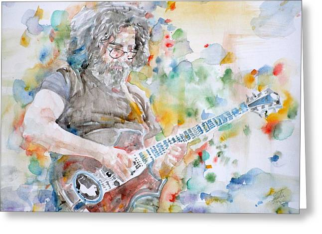 Jerry Garcia - Watercolor Portrait.15 Greeting Card
