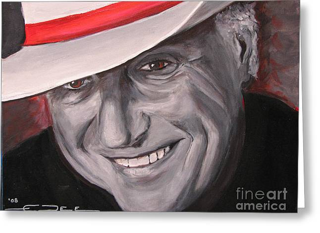 Greeting Card featuring the painting Jerry Jeff Walker by Eric Dee