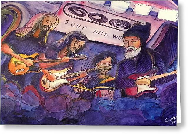 Greeting Card featuring the painting Jerry Joseph And The Jackmormons by David Sockrider