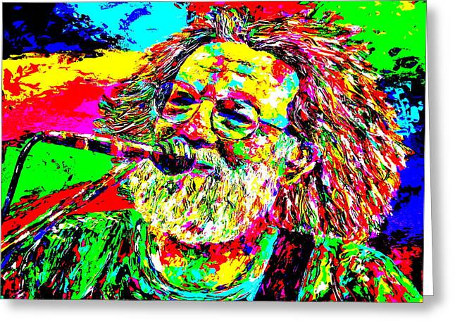 Jerry Garcia Band Greeting Cards - Jerry Greeting Card by Mike OBrien