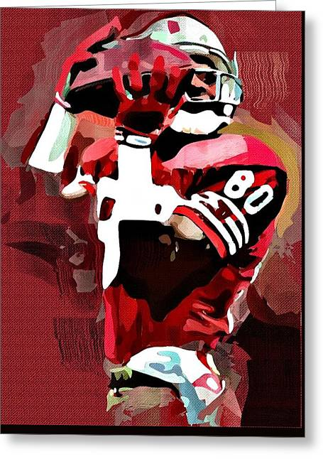 Jerry Rice Greeting Card by Bob Smerecki