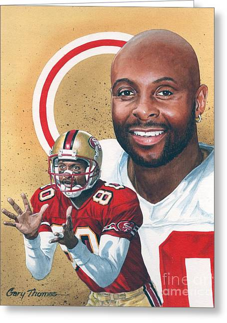 Jerry Rice Greeting Card by Gary Thomas