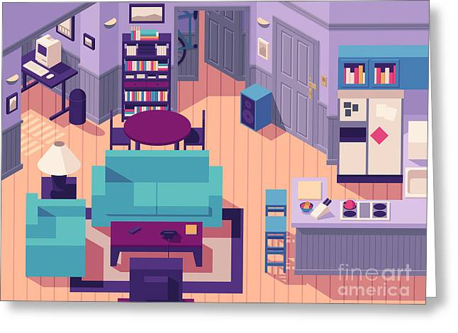 Jerry Seinfeld Apartment 5a Isometric Greeting Card by Ivan Krpan