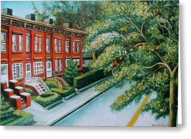 Greeting Card featuring the painting Jersey City Street by Melinda Saminski